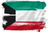 stock photo of kuwait  - Kuwait flag backdrop background texture isolated on white - JPG