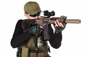 image of m4  - mercenary with m4 rifle isolated on white - JPG