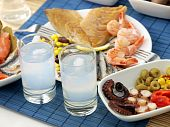 picture of ouzo  - Misc seafood and greek alcohol drink ouzo