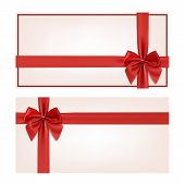foto of ribbon bow  - Gift voucher template with red ribbon and a bow - JPG