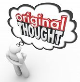 stock photo of thinker  - Original Thought words in 3d letters in a thinker - JPG