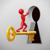 picture of keyhole  - 3d rendering of shiny red man on golden key passing through large keyhole - JPG