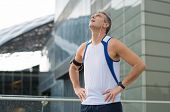 picture of breath taking  - Portrait Of Mature Runner Take A Break Outdoor - JPG