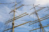 foto of sailing vessel  - Mast and guy cables of sailing vessel - JPG