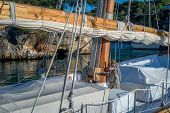 stock photo of mast  - Retro sailing boat mast and deck details - JPG