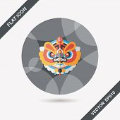 stock photo of dragon head  - Chinese New Year Flat Icon With Long Shadow - JPG