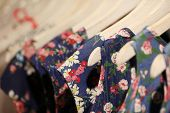picture of cloak  - Color many beautiful fashionable clothes in cloak-room