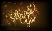 picture of corazon  - Happy Valentines Day celebration with golden text Love You and heart on shiny brown background - JPG