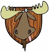 stock photo of taxidermy  - This illustration depicts a taxidermy head mount of a bull moose - JPG