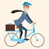 picture of traffic rules  - Smiling businessman going to work in the office by bike - JPG