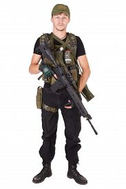 picture of m16  - mercenary with m16 rifle isolated on white  - JPG