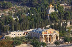 picture of magdalene  - Church of All Nations and the golden domes of the Church of Mary Magdalene - JPG