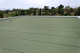 stock photo of slab  - Membrane waterproofing insulation on concrete slab of house - JPG