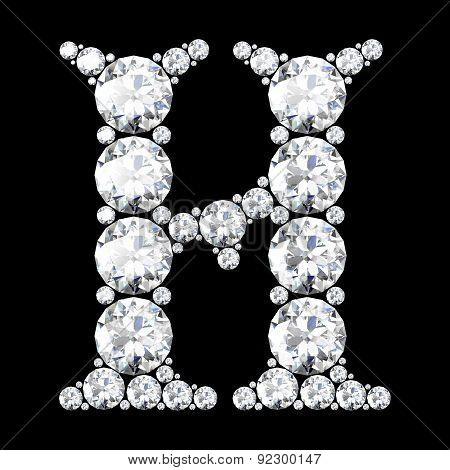 A Stunning Beautiful H Set In Diamonds