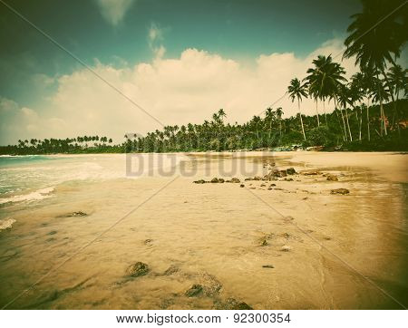 Untouched tropical beach  in Sri Lanka - retro style photo