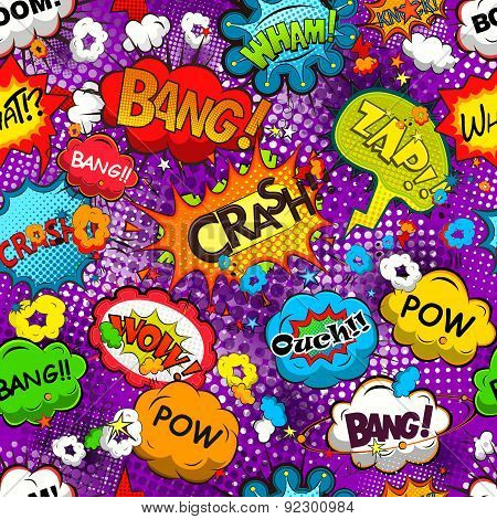Comic speech bubbles seamless pattern vector
