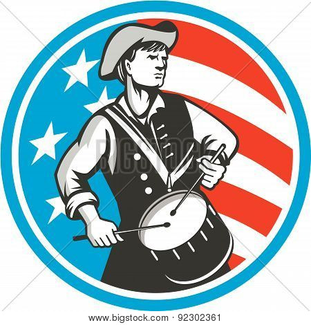 American Patriot Drummer Usa Flag Circle Retro