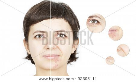 Woman's face, beauty concept - skin care, anti-aging procedures, rejuvenation, lifting, tightening of facial skin