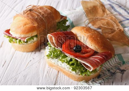 Sandwiches With Jamon, Soft Cheese And Fresh Vegetables
