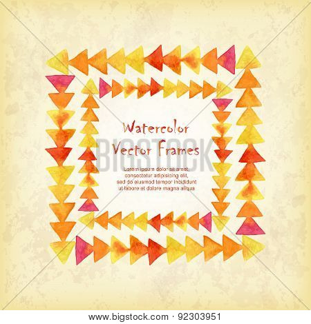 Vector Square Frame Of Watercolor Triangles  On Vintage Background