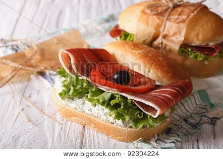Sandwiches With Jamon, Cheese And Vegetables Closeup Horizontal