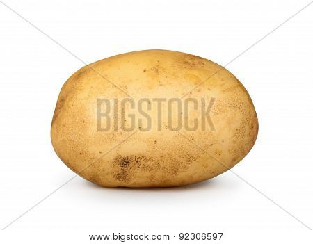 One Young Potatoes Isolated On White Background