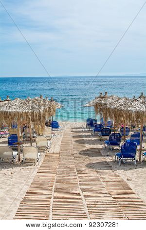 umbrellas in beautiful mega ammos beach, syvota, Greece