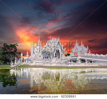 Wat Rong Khun Sunset Thailand