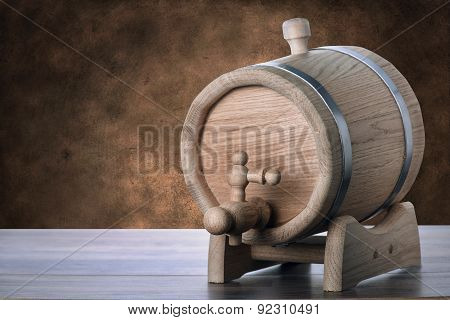 Oak Barrels On A Brown Grunge Background