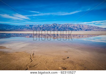 Wide Reflection Of Desert Mountains