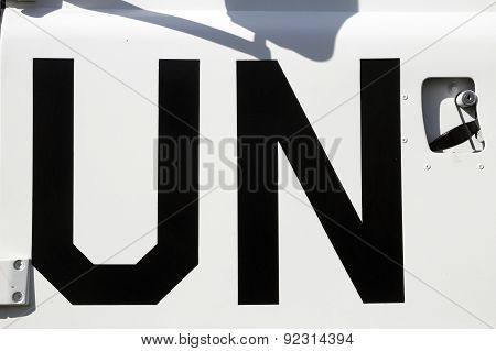 UN sign on a United Nations peacekeeping truck