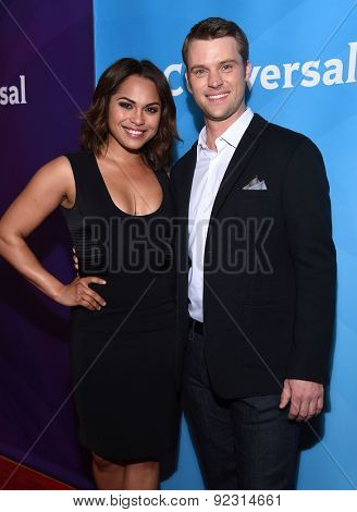LOS ANGELES - APR 02:  Monica Raymund & Jesse Spencer arrives to the NBCUniversal's Summer Press Day 2015  on April 02, 2015 in Hollywood, CA