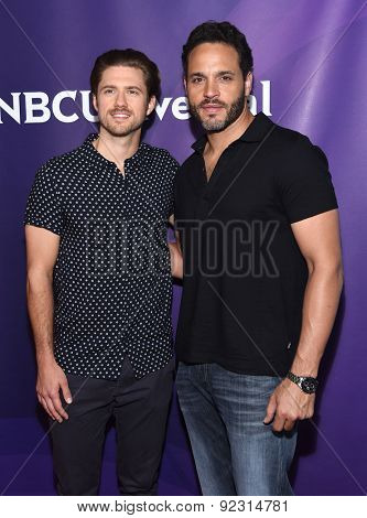 LOS ANGELES - APR 02:  Aaron Tveit & Daniel Sunjata arrives to the NBCUniversal's Summer Press Day 2015  on April 02, 2015 in Hollywood, CA