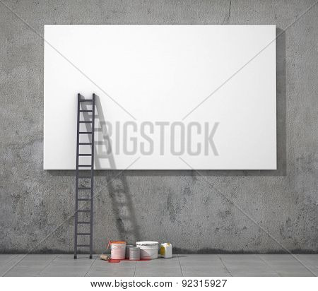 Blank Street Advertising Billboard On  Grunge Wall.