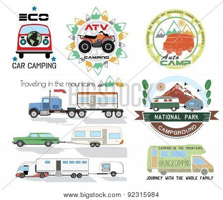 Camping and outdoor activity logo collection - cars, mountains, hiking, summer camp.