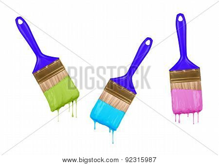 Brushes Of Dripping Colored Paint