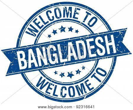 Welcome To Bangladesh Blue Round Ribbon Stamp