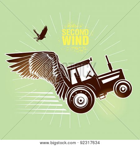 Rural tractor.  Vector illustration created in topic
