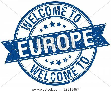 Welcome To Europe Blue Round Ribbon Stamp