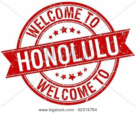 Welcome To Honolulu Red Round Ribbon Stamp