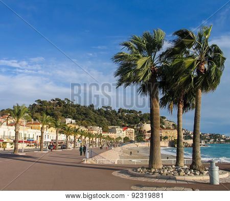 Nice, France - December 05, 2005: People Take A Walk On Winter Day At Pedestrians On Promenade Des A