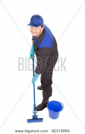Man with bucket and blue mop.