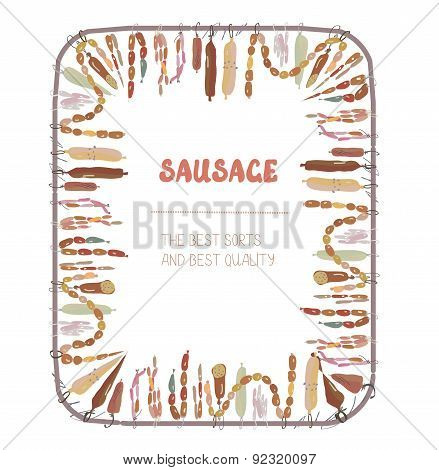 Sausages Frame With Many Sorts