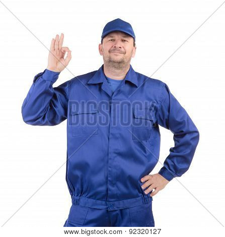 Worker with raised hand.
