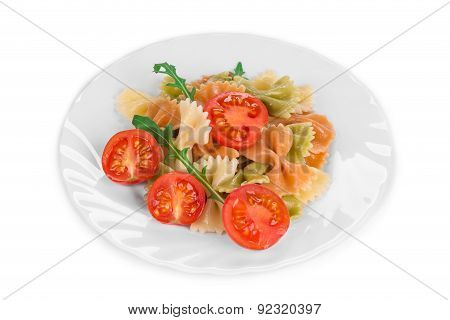 Pasta penne rigate with tomato.
