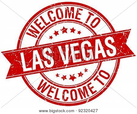 Welcome To Las Vegas Red Round Ribbon Stamp
