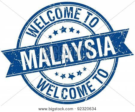 Welcome To Malaysia Blue Round Ribbon Stamp