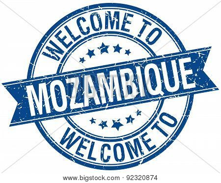 Welcome To Mozambique Blue Round Ribbon Stamp