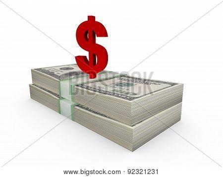 Stack Of Dollar Bills And Dollar Sign