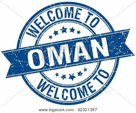 Welcome To Oman Blue Round Ribbon Stamp